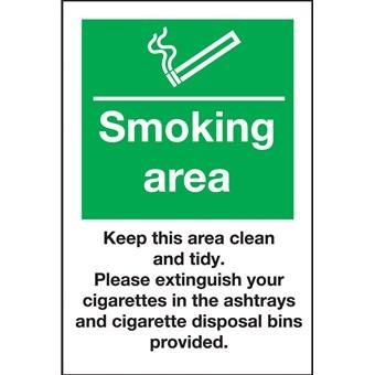 Smoking Area Keep Clean Use Ashtrays Sign 518451